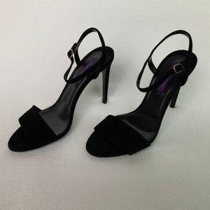 Ralph Lauren Blianna Black Suede Fancy Sandal